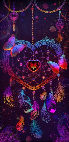 colorful dream catcher with butterfly and fancy neon. Dreamcatcher Wallpaper, Butterfly Wallpaper, Heart Wallpaper, Cute Wallpaper Backgrounds, Pretty Wallpapers, Cellphone Wallpaper, Galaxy Wallpaper, Cool Wallpaper, Iphone Wallpaper