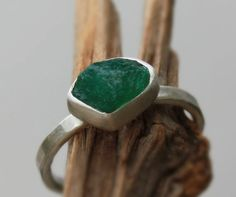 Emerald natural rough sterling silver ring... To die for!!!