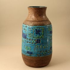 Aldo Londi, Bitossi Italy. Large Rimini Blue Vase