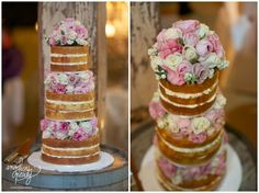 """Gorgeous """"naked"""" wedding cake with flowers in between tiers. I love it because I'm not much of a frosting person..."""
