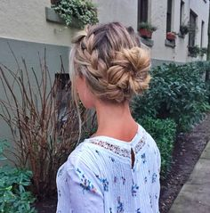 pretty braided bun #hair #braid #beauty