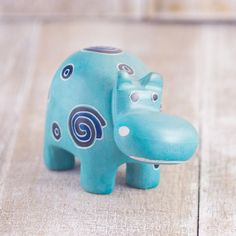 Soapstone Hippo Robin's Egg Blue