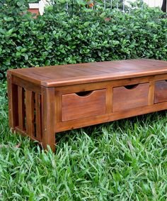 Another great find on #zulily! Natural Triple-Drawer Storage Bench #zulilyfinds Great idea for Charles to build-----
