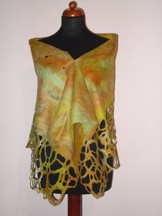 nuno felted scarf NEW collection beautiful pastel orange & green colors