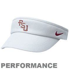 Nike Florida State Seminoles (FSU) White Coaches Performance Adjustable Visor  Georgia Bulldogs Hat 8e1cffecd1a