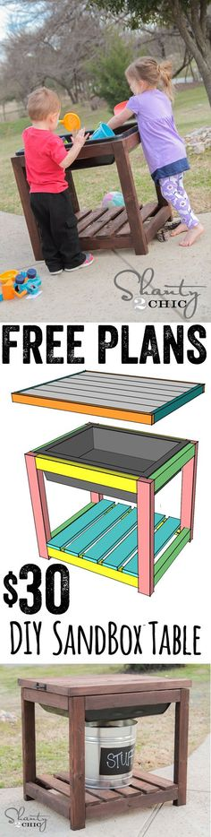 Free Plans DIY Sandbox Table… So easy and SO cheap too! www.shanty-2-chic.com