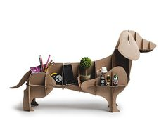 """Dachshund Cardboard """"Dog"""" Offers Instant Storage Without Ruining Your Carpet"""