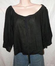 Womens FREE PEOPLE TOP 8 M Medium Black Oversized Boxy 3/4 Sleeve Full Shirt