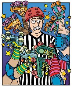 Roller Derby Cartoon | Roller Derby Poster done for Dockyard Derby Dames Derby Skates, Quad Skates, Roller Derby, Roller Skating, Mother Goose And Grimm, Zebras, Burton Snowboards, Kitesurfing, Skateboard Art