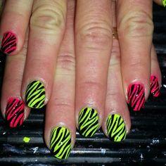 Neon zebra print for my mom! #nails #nailart #zebra #neon #manicure #pretty #love