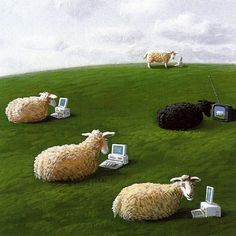 Sheepwith lap tops  by Michael Sowa