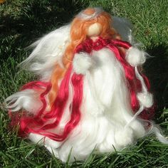 Scarlet Ethereal Winter Angel Tree Topper by Rebecca von Nushkie
