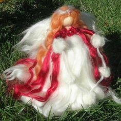 Scarlet Ethereal Winter Angel Tree Topper by Rebecca von Nushkie