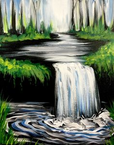 The Hidden Waterfall at The Greene Turtle (Columbia), beginner painting idea.
