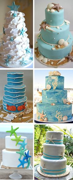 beach-wedding-cakes-inspired-by-shells-and-starfishes.jpg (600×1468)