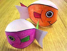 Twirly Fish make and then drop to see them twirl down- feeding 5000 lesson. Matthew 14:13-21 John 6:14