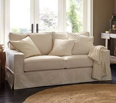 """PB Comfort Square Slipcovered Box-Edge Cushion Sofa Love seat in everyday velvet $999 62"""" w x 39"""" d x 37"""" h / down blend $1,300 / $1,500 ($2,800) verses crate and barrel willow Willow Loveseat 59""""Wx36""""Dx29""""H $1,800 / sofa $1,900 ($3,700)"""