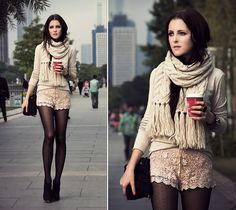 Pull&Bear Sweater, H&M Shorts, Accessorize Scarf, Follie Follie Clutch