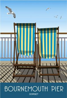 Deck Chairs on Bournemouth Pier Drawn in a modern style taken from old railway posters Candid Photography, Documentary Photography, City Photography, Love Photos, Beach Photos, Pictures Images, Cool Pictures, Posters Uk, Railway Posters