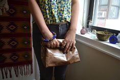 DIY No Sew Leather paper bag clutch