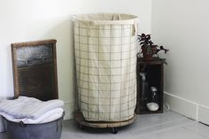 Wire Hamper - i like =)  I want to make this minus the canvas for their balls...