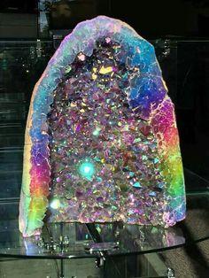 Rainbow Aura Amethyst Geode