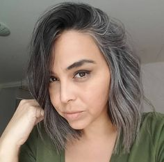 I love the natural patterns found in natural grey hair:) Grey Brown Hair, Long Gray Hair, Dark Hair, Grey Hair In 30s, Grey Hair Transformation, Curly Hair Styles, Natural Hair Styles, Grey Hair Don't Care, Grey Hair Inspiration