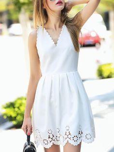 White V Neck Backless Hollow A-Line Dress Mobile Site