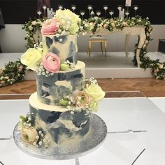 A stunning three tier cake, with grey watercolour buttercream. Three Tier Cake, Tiered Cakes, Favours, Yummy Treats, Watercolour, Special Occasion, Wedding Cakes, Photograph, Birthday Cake