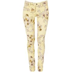 Citizens of Humanity yellow stretch denim jeans. Mid-rise, skinny, belt loops, five pockets, floral print, designer tag, embroidery. Concealed zip and button f…