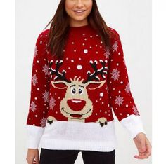 Animal reindeer sweater for women snowflake Christmas knit sweaters 1229ffd96