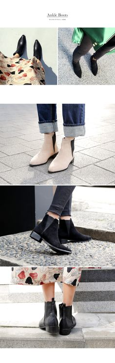 Suede & Faux Leather 2 Type Pointed Toe Ankle Boots-bb-s46612
