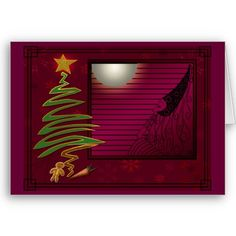 Sugar Plum Fairy (Christmas Card) - An Art Deco inspired design by Leslie Sigal Javorek, in deep & magical shades of plum wine, this Christmas card is a little different from what folks are used to. You gotta see it inside to understand... Also see our matching postage and  postcard! Sold exclusively @ www.zazzle.com/icondoit?rf=238155573613991097&tc=pnt