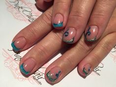 Reverse method was used to create this French look on short sculpted nails. Crystal Nails products