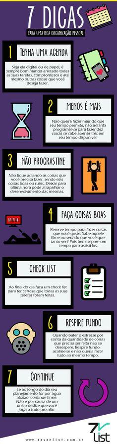#Infográfico #Infographic #Design #Seven List #Organizar, #Dicas #Organizer #Organizar #Agenda #Tempo #CheckList  www.sevenlist.com.br contato@sevenlist.com.br