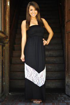 Chevron Forever Maxi Dress: Black/White | Hope's