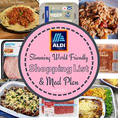 7 day slimming world friendly shopping list and meal plan for Aldi. Low syn, simple and delicious meals. astuce recette minceur girl world world recipes world snacks Aldi Slimming World Syns, Slimming World Meal Prep, Slimming World Shopping List, Slimming World Recipes Syn Free, Shopping Lists, Slimming World Lunches Work, Asda Slimming World, Slimming Workd, Sw Meals