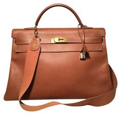 63b7cd87821 Kelly Veau Graine 40 Cm with Strap Tan Leather Tote