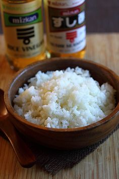 Sushi rice:  Add rice vinegar or sushi seasoning right after the rice is cooked, mix it while it is hot and then cool it.