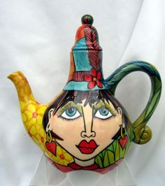 Unique Tea for Two Funky Ladies Faces by artistsloftppaquin1