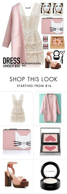 """BCBGMAXAZRIA Lace Dress: $45"" by karineminzonwilson ❤ liked on Polyvore featuring BCBGMAXAZRIA, Karl Lagerfeld, Burberry, Kenneth Cole, MAC Cosmetics, Polaroid, Bobbi Brown Cosmetics, Pink, lanadelrey and pastels"