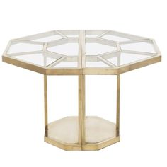 """Hexagonal brass structure, the top inlaid with clear glass pieces. The table can be separated in two halves and be used as consoles. Model """"Puzzle"""" from the Series Plurimi. """"Certificate of Authenticity"""" signed by Elisabetta Crespi. Center Table Living Room, Table Centers, Dining Room Table, Table Furniture, Modern Furniture, Furniture Design, Evans, Coffee Chairs, Italian Table"""