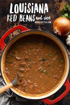 Louisiana Style Red Beans and Rice Recipe - Budget Bytes - Classic Louisiana style red beans and rice are naturally budget friendly meal that will give you le - Creole Recipes, Cajun Recipes, Bean Recipes, Rice Recipes, Soup Recipes, Dinner Recipes, Cooking Recipes, Haitian Recipes, Vegetarian Cooking