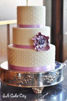 Salt Cake City (www.SaltCakeCity.com) delicate dots and purple sugar flower Sugar Flowers, Wedding Cakes, Salt, Delicate, Dots, Purple, Desserts, Stitches, Tailgate Desserts