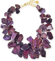 Chunky Violet Jasper Necklace by NEST Jewelry at Neiman Marcus. Jewelry Art, Jewelry Design, Women Jewelry, Fashion Jewelry, Jewellery, Jewelry Ideas, Style Fashion, Cluster Necklace, Strand Necklace