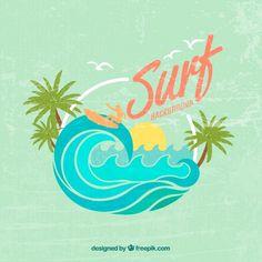 Bonito fondo vintage de surf Vector Gratis