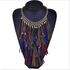 Nueva moda 1 Mujeres Borla multicapa Vintage declaración babero Collar Largo Collar