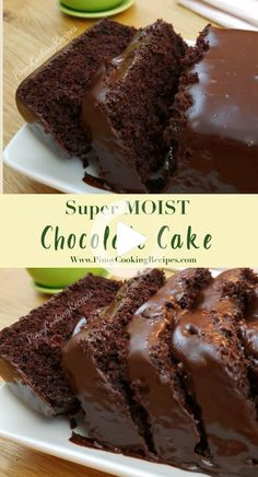 Super moist Chocolate cake with creamy chocolate frosting. Super moist Chocolate cake with creamy chocolate frosting. Super Moist Chocolate Cake, Amazing Chocolate Cake Recipe, Best Chocolate Cake, Chocolate Recipes, Sour Cream Chocolate Cake, Chocolate Ganache, Chocolate Cake For Two Recipe, Desserts With Sour Cream, Chocolate Frosting For Brownies