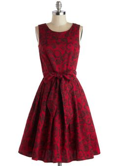 Beautiful deep red dress with rose pattern.  An elegant gothic twist that I would wear any day!