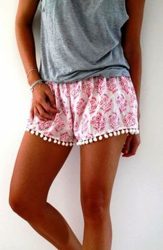 Bright Pink Patterned Pom Shorts